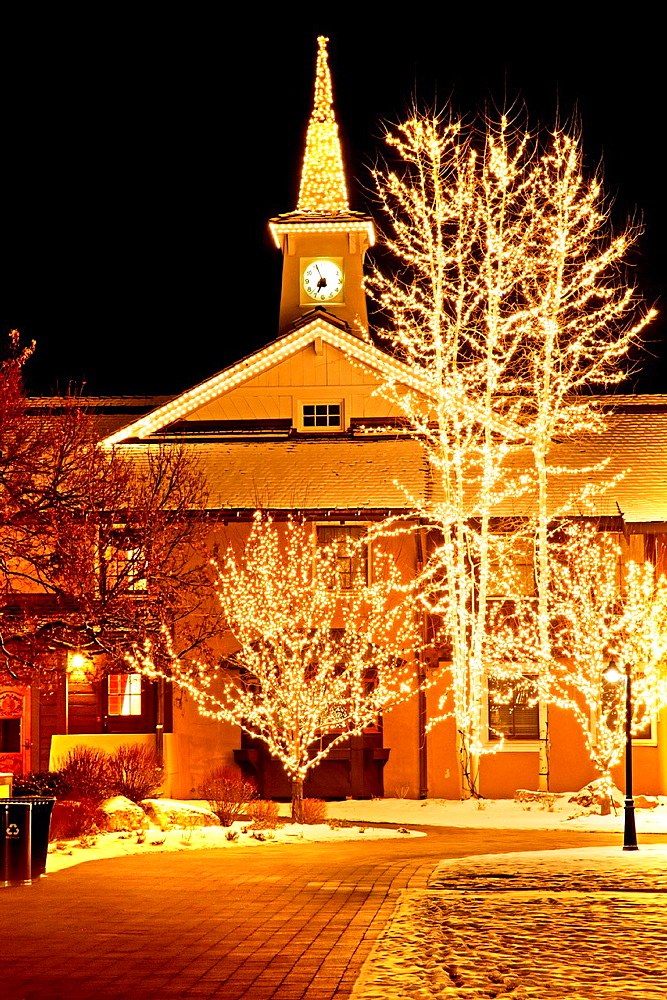 Sun Valley, Sun Valley Village and Inn with Christmas lights in the cities of Sun Valley and Ketchum in central Idaho.