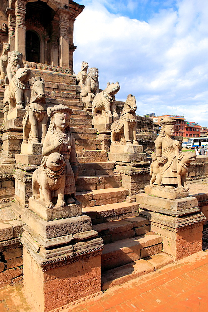 Siddhi Laxmi Temple statues, Durbar square, Bhaktapur, Nepal.