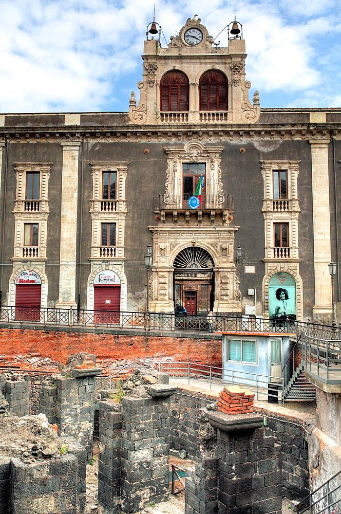 Roman amphitheater, Catania, Sicily, Italy.