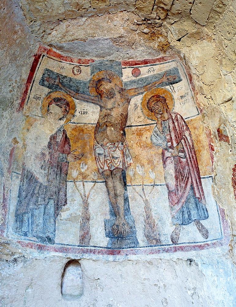Fresco of the cave church San Nicola dei Greci, Sassi di Matera, Basilicata, Italy.