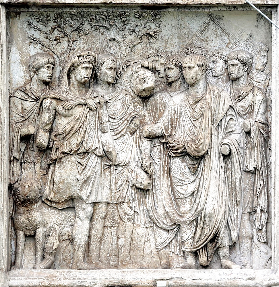 Bas relief on Arch of Trajan, Benevento, Campania, Italy.