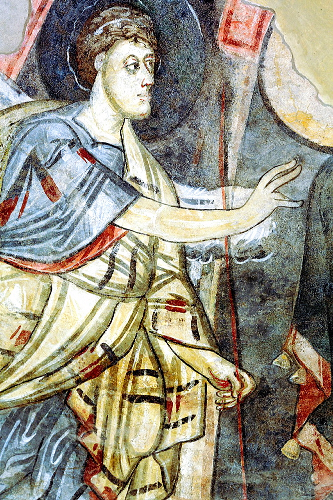 Annunciation of Zacharias fresco, Santa Sofia church (8th century), Benevento, Campania, Italy.