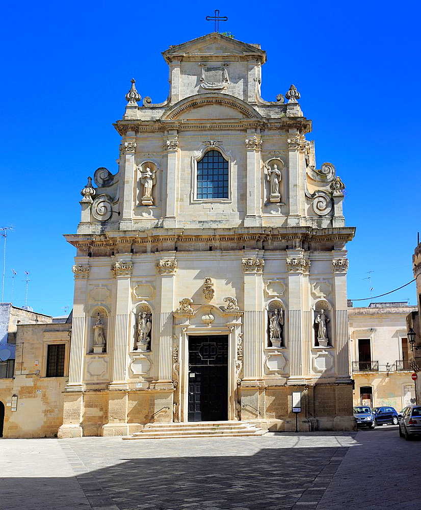 Facade sculpture of Church of the Holy Cross (Chiesa di Santa Croce), Lecce, Apulia, Italy.
