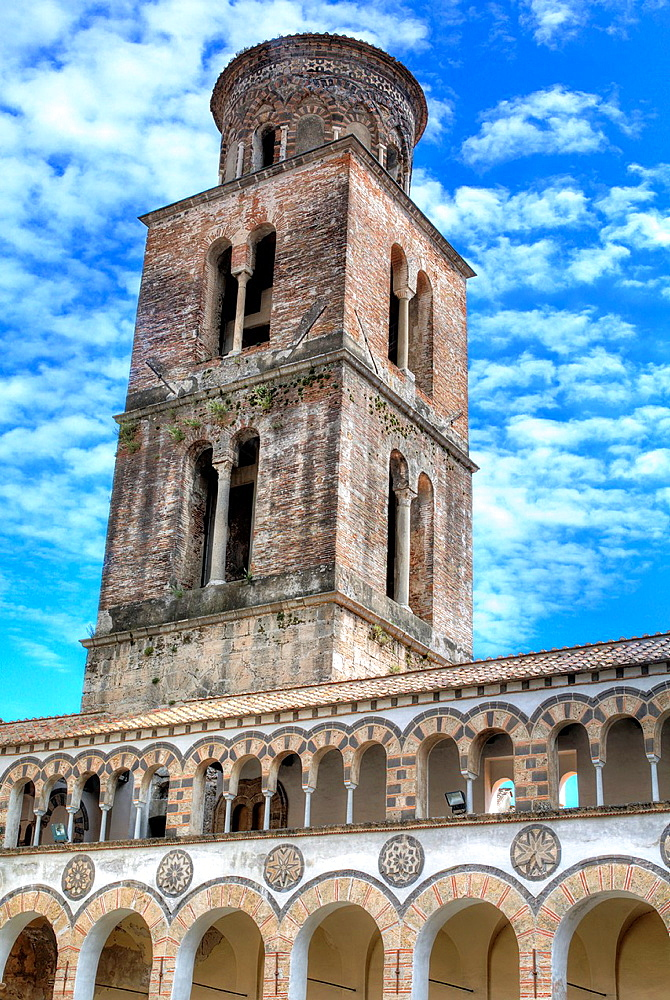 Bell tower of cathedral, Salerno, Campania, Italy.