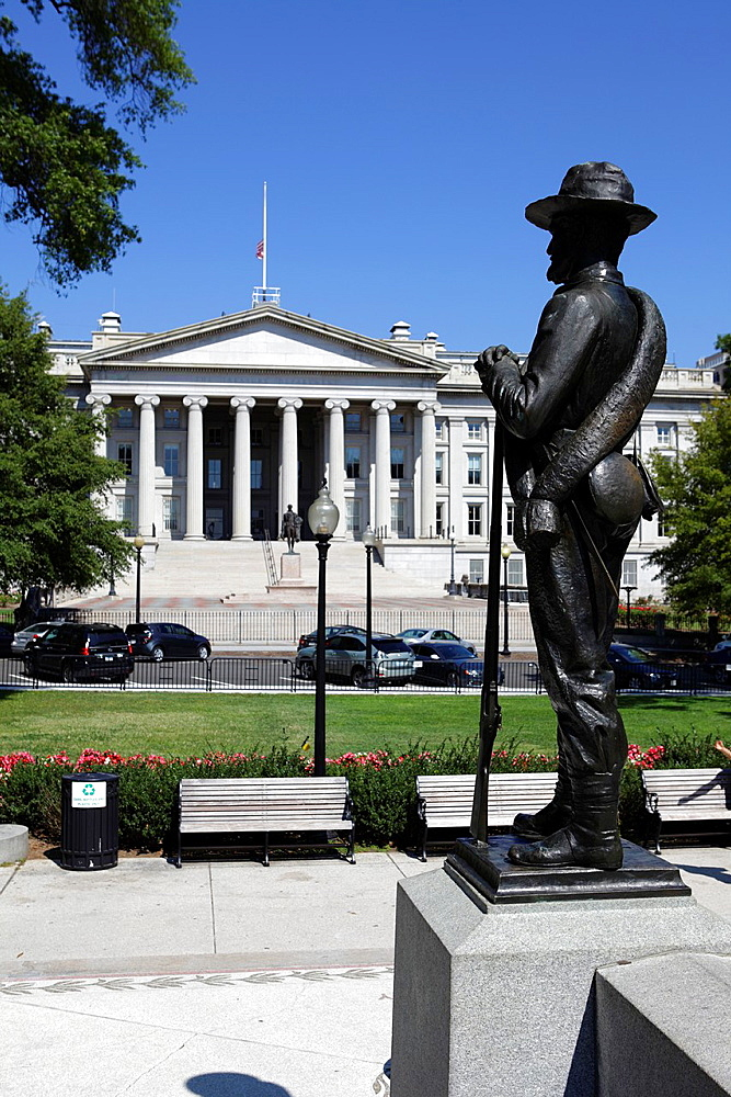 Statue And US Treasury Building, Washington D.C., USA.