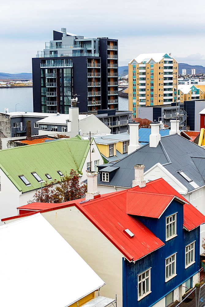 Aerial views of Reykjavik city centre, Iceland.