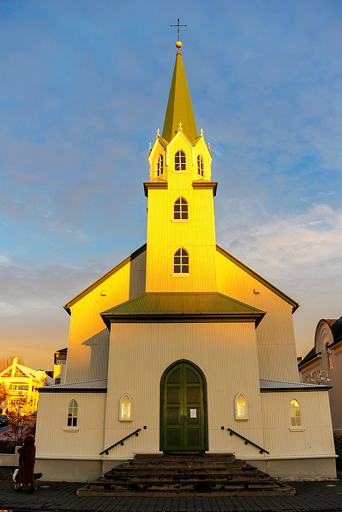 Frikirkjan church on Tjorn lake in Autumn, Reykjavik, Iceland.