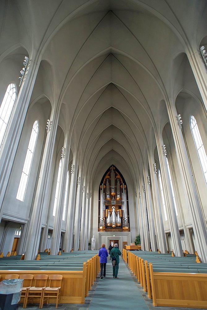 Hallgrimskirkja Cathedral interior views, Reykjavik, Iceland.