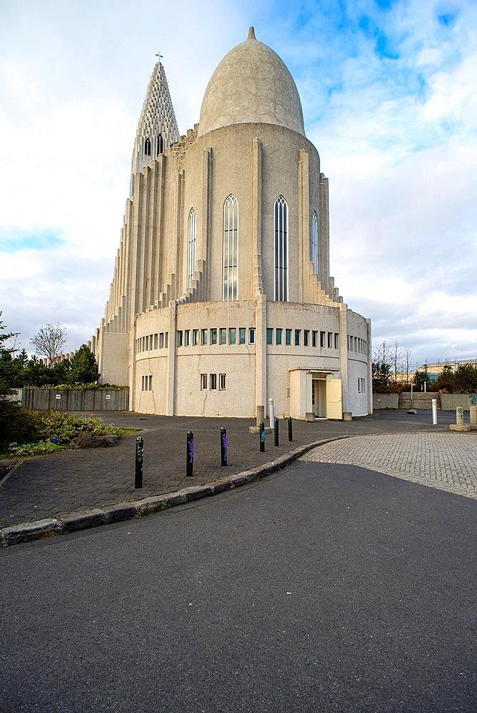 Hallgrimskirkja Cathedral outside views, Reykjavik, Iceland.