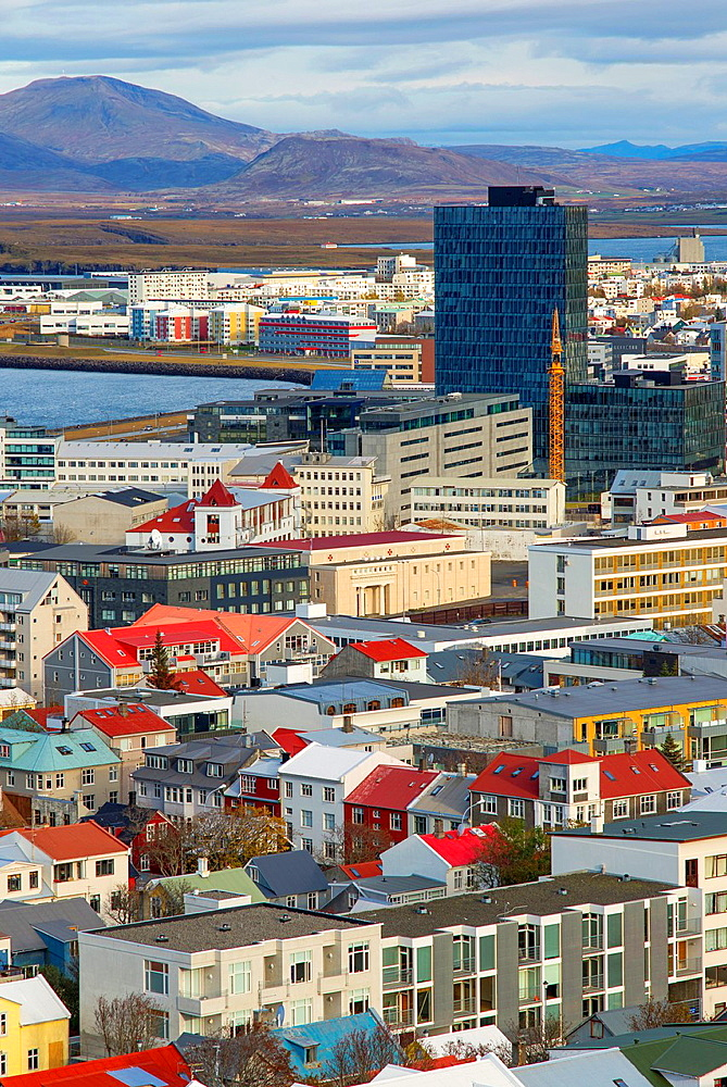 Aerieal views of Reykjavik city centre from Hallgrimskirkja Cathedral tower view point, Reykjavik, Iceland.