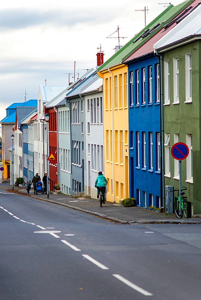 Colorful houses and buildings in Reykjavik city centre, Iceland.