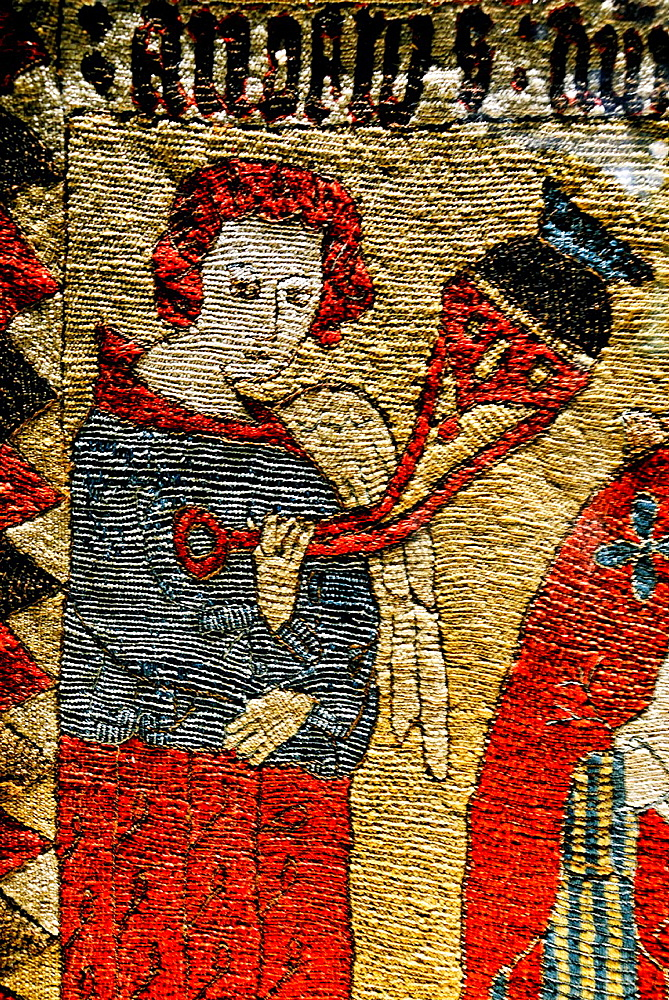 Detail of embroidered altar frontal from Draflastair, North Iceland, 16th century, exhibit in National Museum of Iceland, Reykjavik.