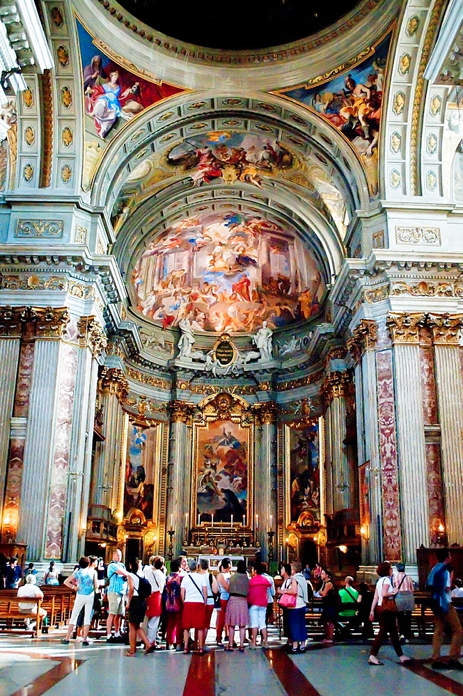 Interior of Church of St Ignatius of Loyola at Campus Martius, Rome, Italy.