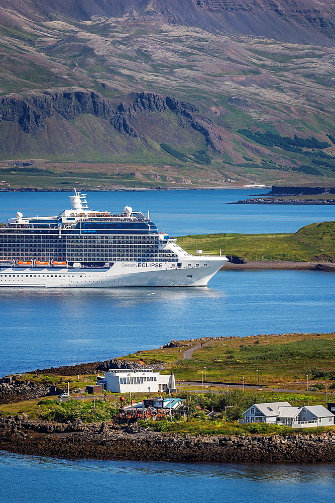 Large Cruise ship sailing into Reykjavik Harbor, summertime, Iceland.
