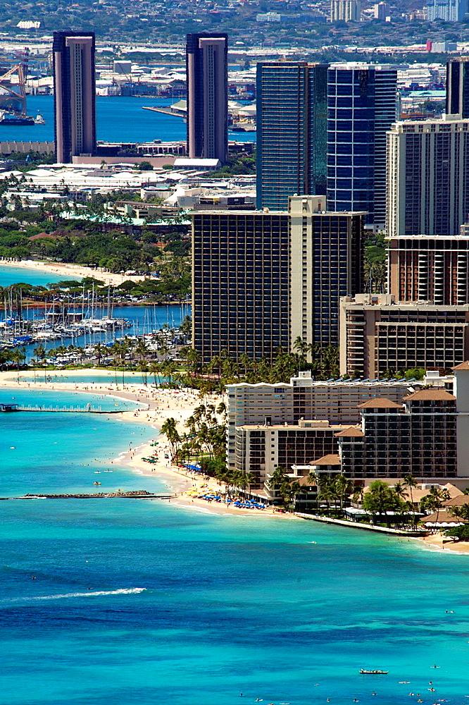 View of Waikiki tourist area of Honolulu from Diamond Head mountain.