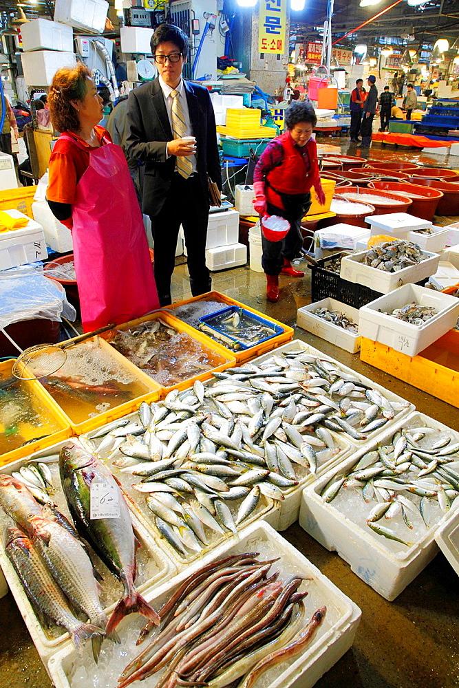 South Korea, Seoul, Noryangjin Fish Market,.