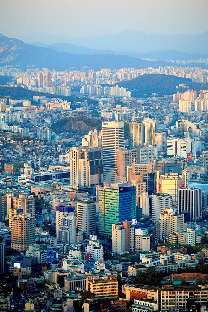 South Korea, Seoul, skyline, general, aerial, view,.