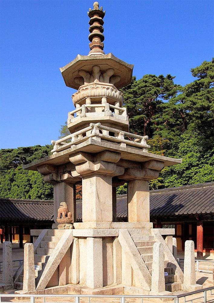 South Korea, Gyeongju, Bulguk-sa, buddhist temple, Dabo-tap Stupa,.