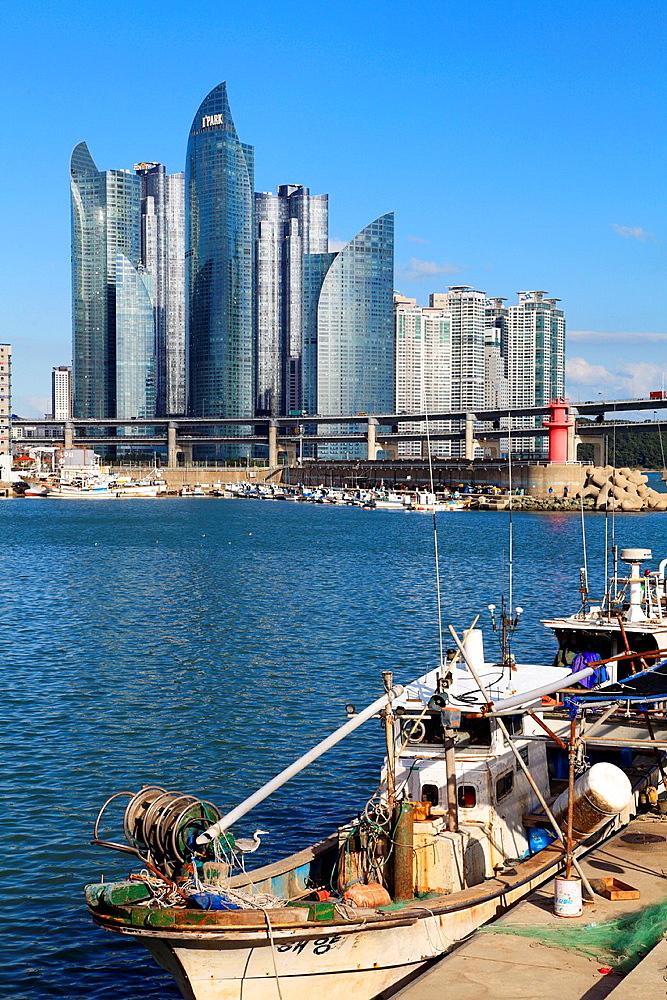 South Korea, Busan, skyline, harbor, fishing boats,.
