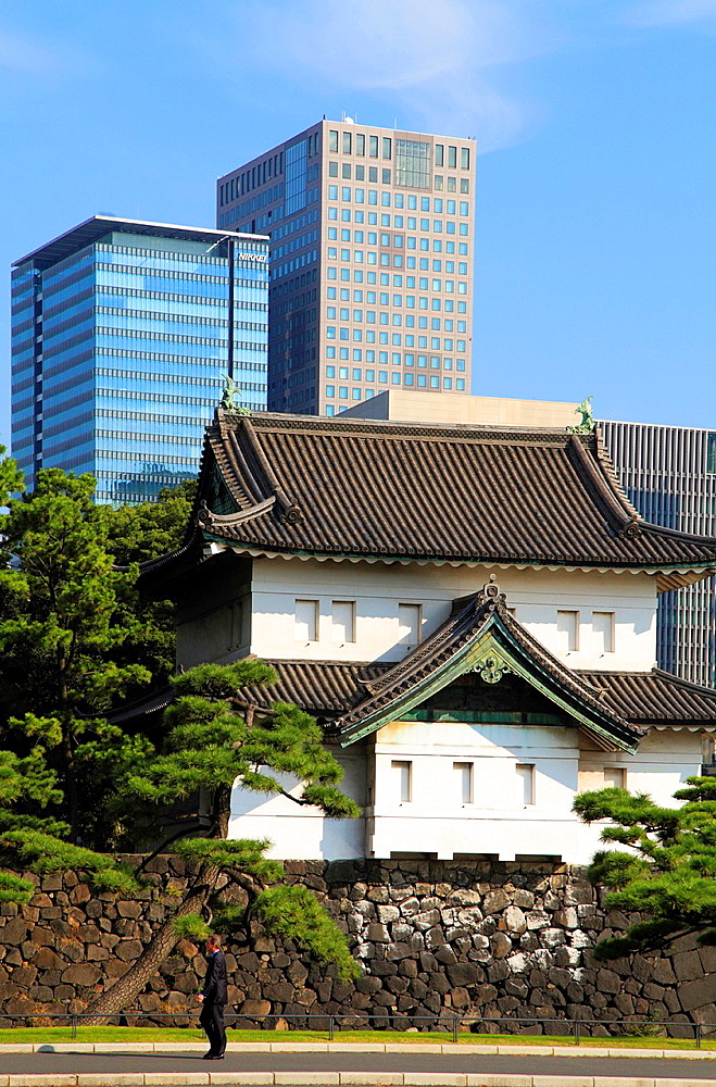 Japan, Tokyo, Imperial Palace, Marunouchi district skyscrapers,.