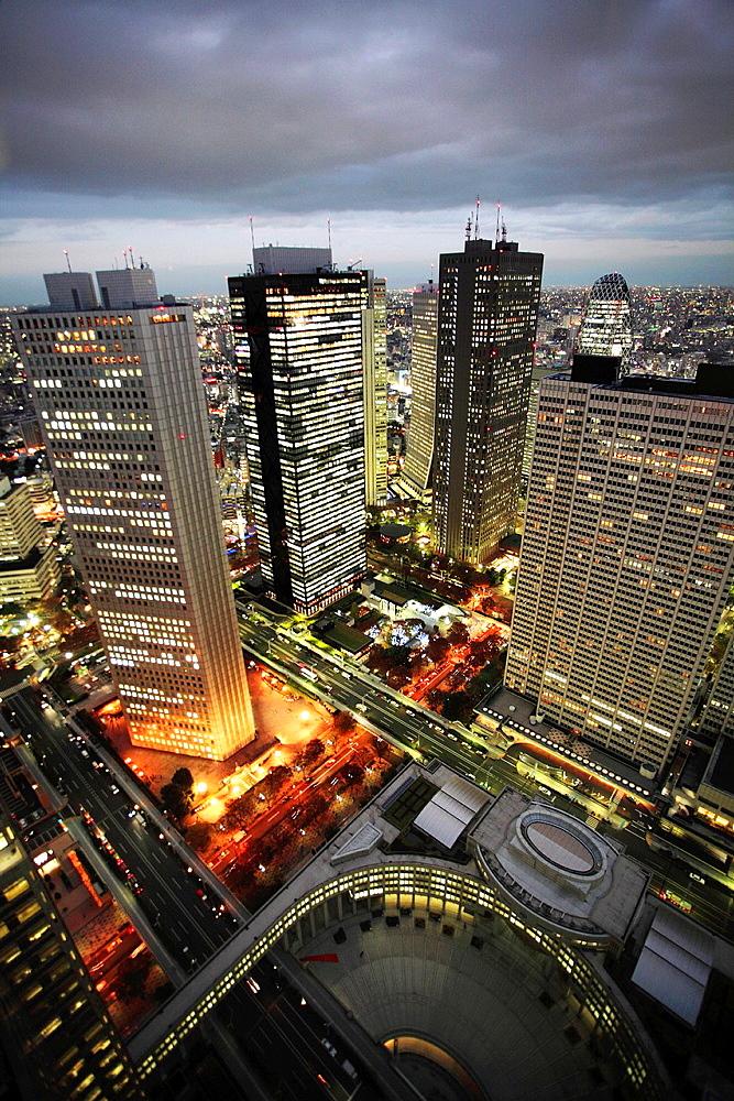 Japan, Tokyo, Shinjuku, skyline at night.
