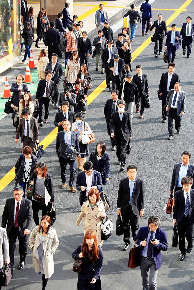 Japan, Tokyo, Shinjuku, crowd, people, going to work,.
