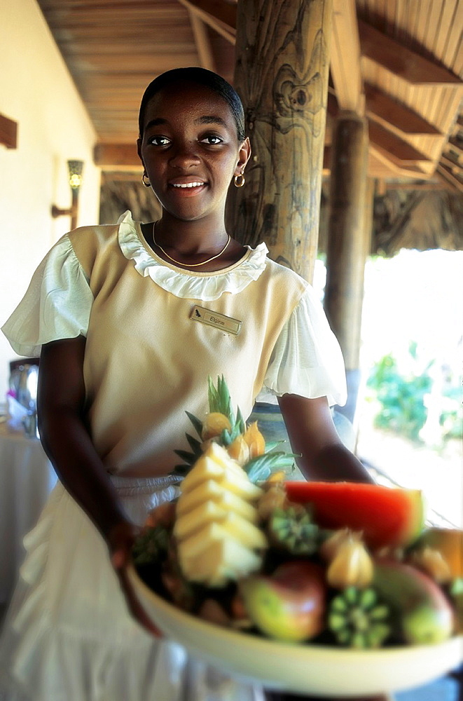 girls with fruits. seychelles