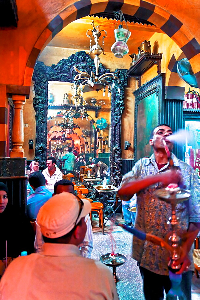el fishawy cafe in khan el khalili town. cairo.