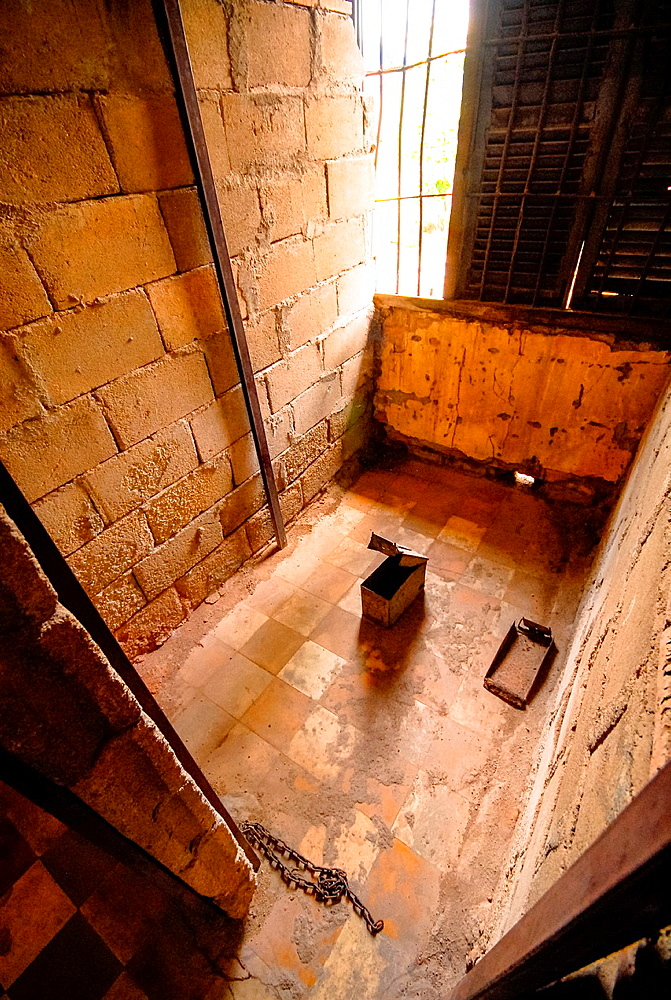 cell in formerly prison Tuol Sleng, Phnom Penh, Cambodia