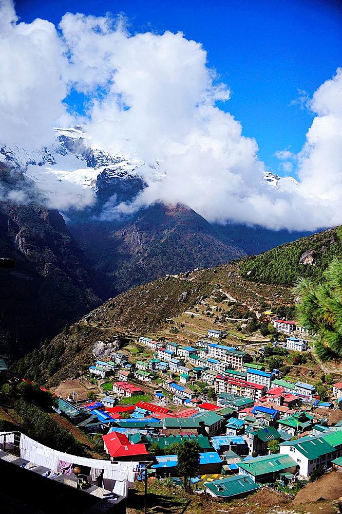 Namche Bazaar, Sagarmatha National Park, the Himalaya range, Khumbu area, Solukhumbu District, Sagarmatha Zone, Nepal.