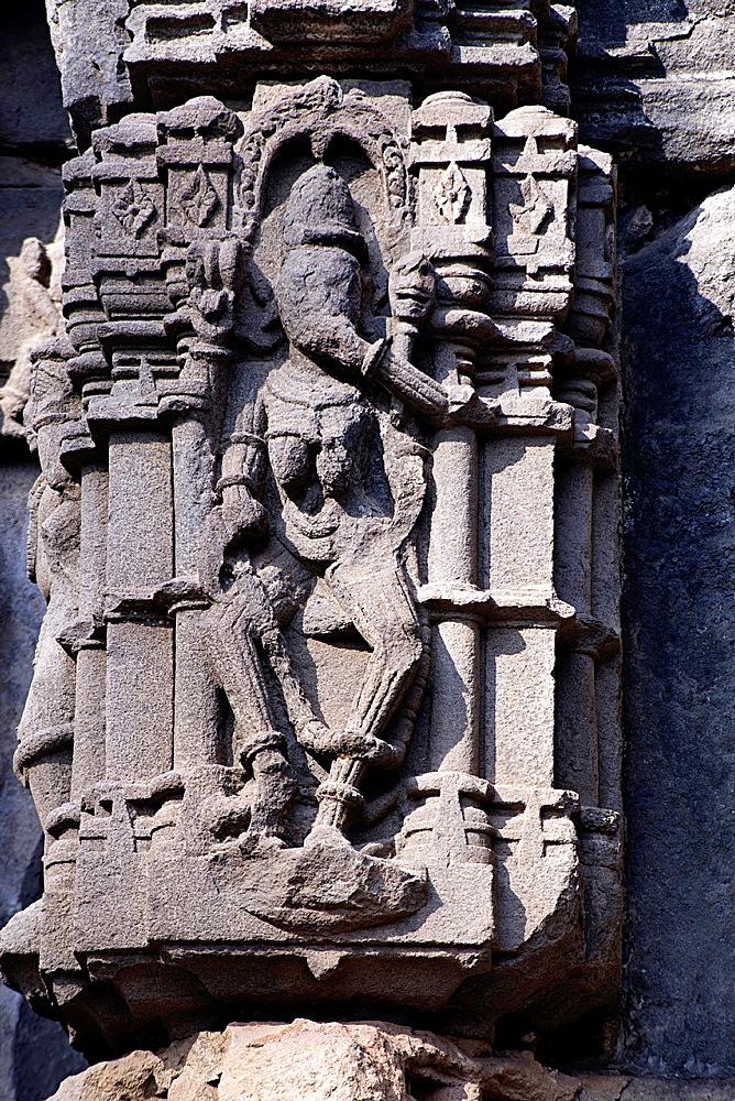 Figure of Dancing Ganesha. Shiv Mandir, also called Ambreshwar Shiva Temple, Ambarnath, Maharashtra, India.
