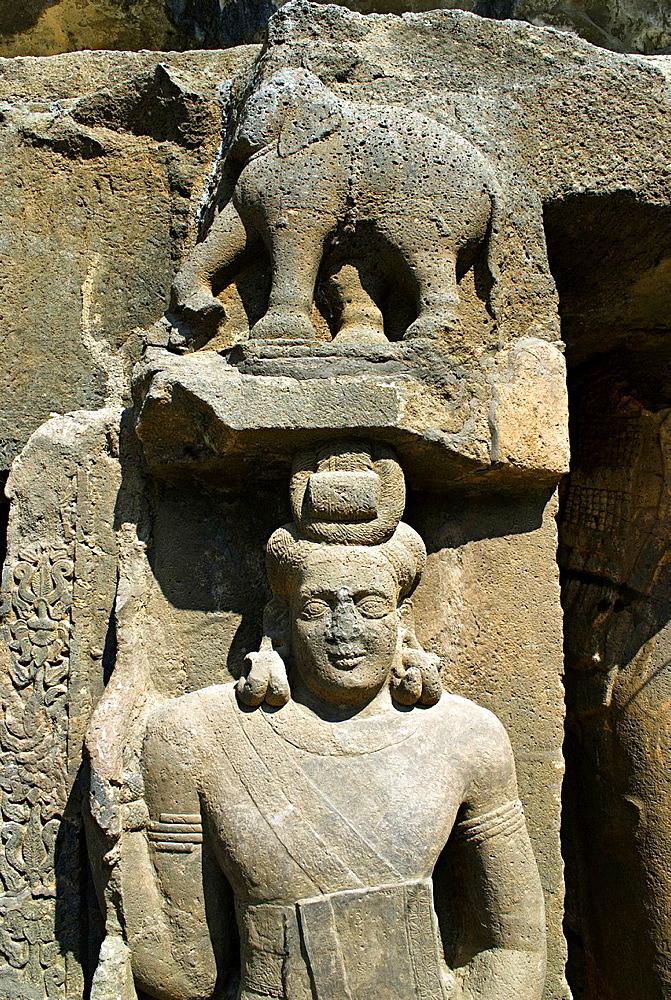 Pitalkhora Caves. Dvarapala on the left of doorway. Aurangabad district, Maharashtra, India