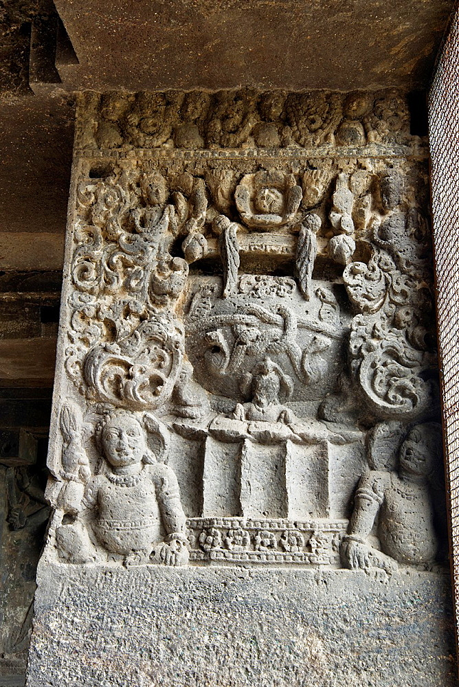 Cave 15, Dashavatara. Detail of pillar shaft with leaf and foliage motif and dwarf figures at the lower portion. Ellora Caves, Aurangabad, Maharashtra India.