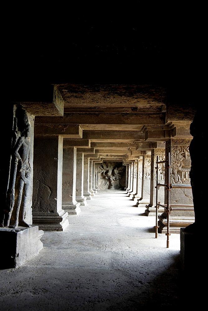 Cave No.15 Dashavatara. Panel of Narasimha and the demon Hiranyakashipu at the rear end. Ellora Caves, Aurangabad, Maharashtra India.