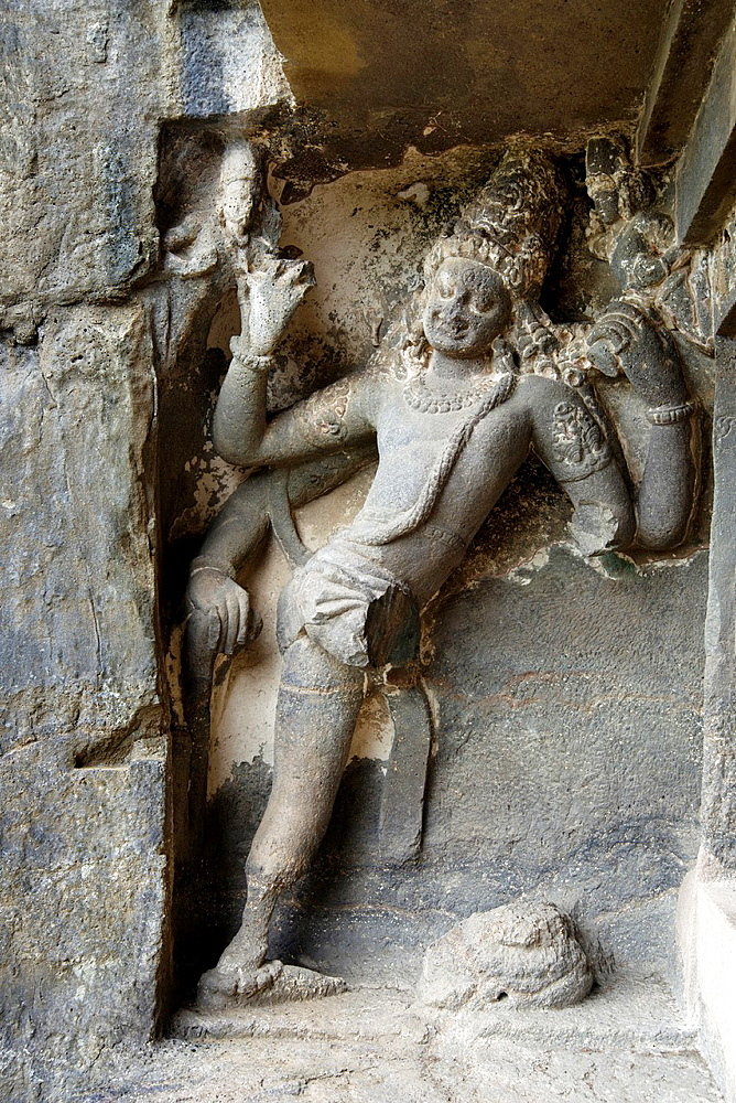 Cave No.15 Dashavatara. First storey Shaiva Dwarapala guardian on North side. Ellora Caves, Aurangabad, Maharashtra India.