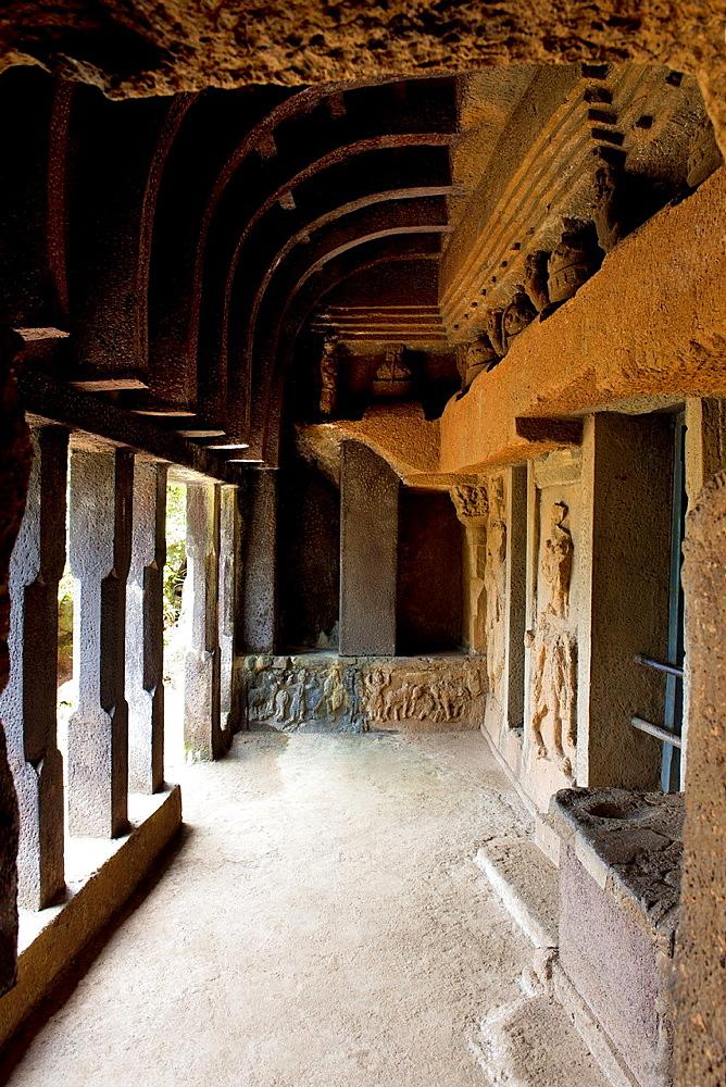 View of the verandah of the Vihara 20. circa 150 B.C. View from South. Bhaja caves, Dist. Pune, Maharashtra, India.