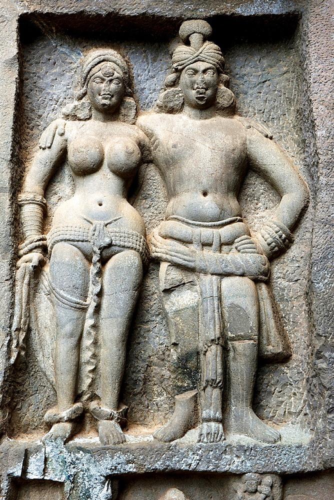 Mithuna couple. Right of verandah of outer wall. Circa 2nd. Century CE. Karla Caves, Pune, Maharashtra India.