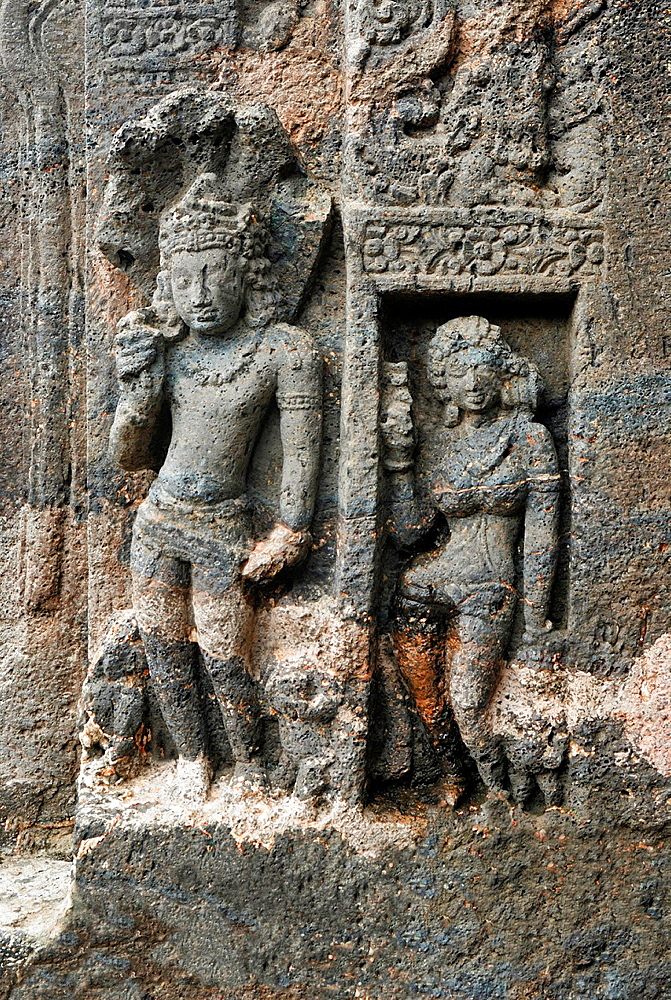 Cave 27: Standing Nagaraja on the doorway. Ajanta Caves, Aurangabad, Maharashtra, India.
