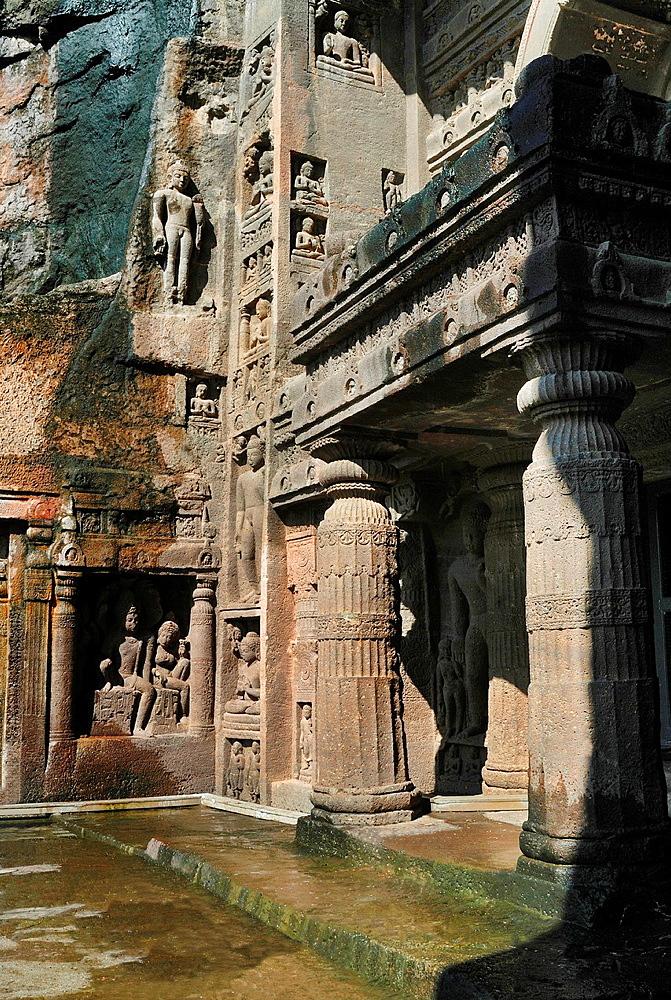 Cave 19 : Portion of facade of Chaitya. Ajanta Caves, Aurangabad, Maharashtra, India.