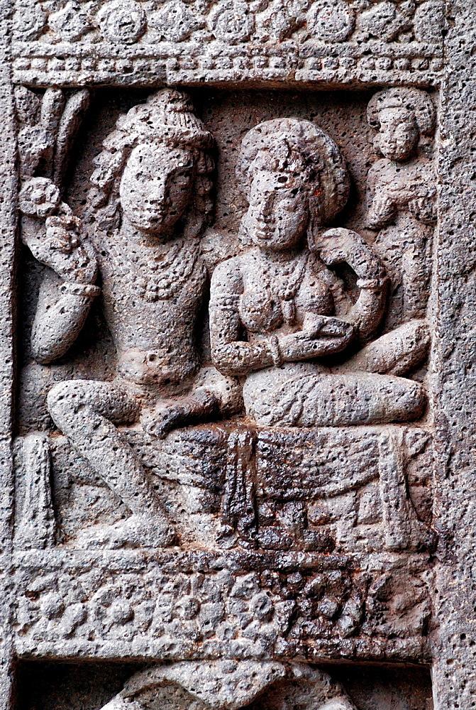 Cave 27: King and Queen, Female Figure. Ajanta Caves, Aurangabad, Maharashtra, India.