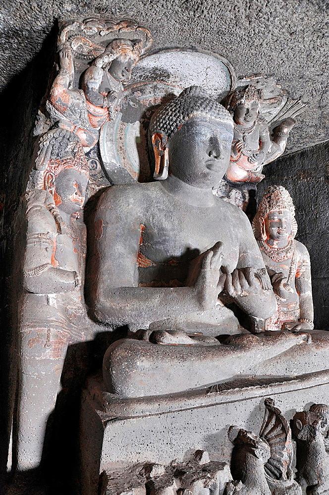 Cave 1 : Buddha seated in Padmasana. Side view. Ajanta Caves, Aurangabad, Maharashtra, India.