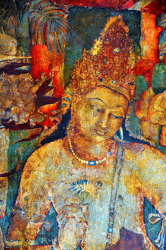 Cave 1: Bodhisattva Padmapani, Close up. Rear wall, left of shrine antechamber. Ajanta Caves, Aurangabad, Maharashtra, India.