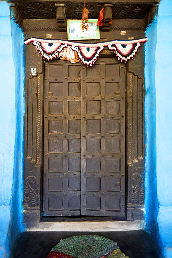 Entrance door, Gond tribe, Gadchiroli, Maharashtra, India.