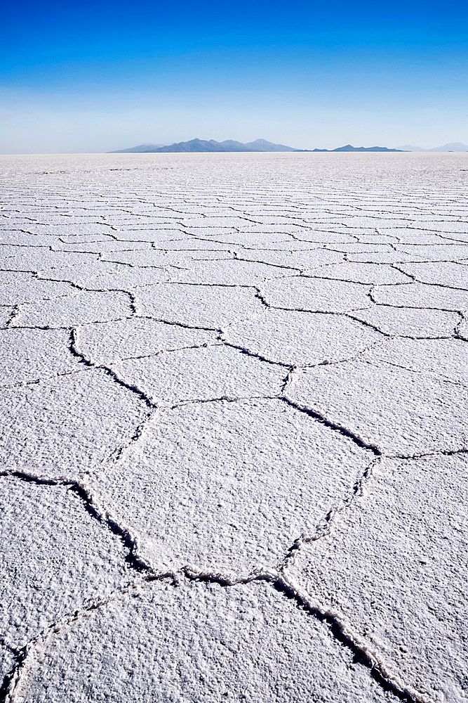 Hexagonal shaped salt flats, polygonal lines of raised salt created from evaporation in dry season, Salar de Uyuni, Bolivia, South America.