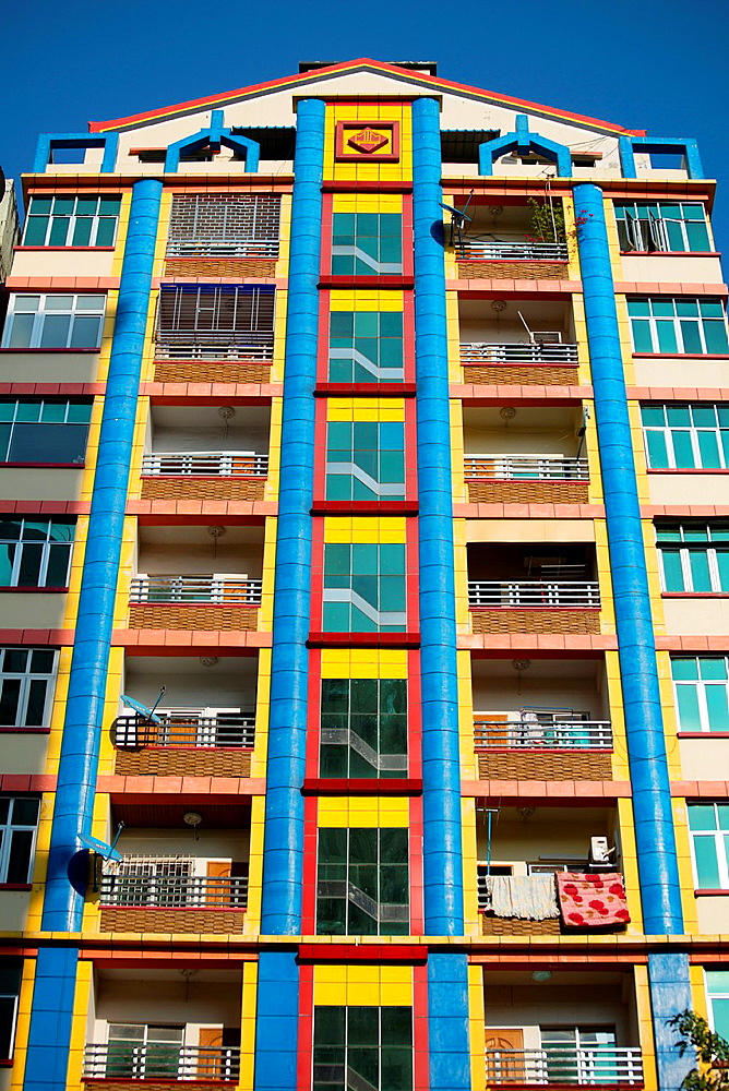 Building colorful facade in Yangon in Myanmar. - 817-472153