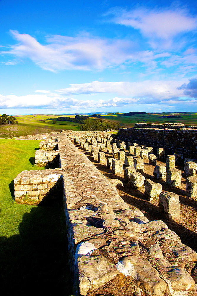 Housteads Roman Fort Granary on Hadrianís Wall National Trail, Northumberland England United Kingdom Great Britain. - 817-472188