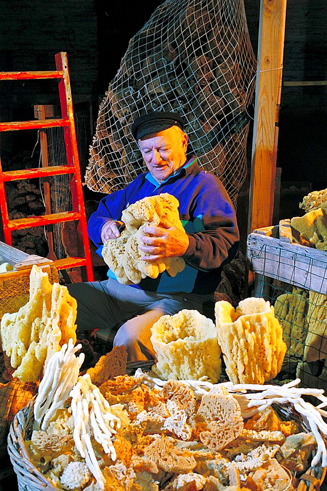 Sponge Docks in Tarpon Springs, Florida, Old man sorts sponges on warehouse.
