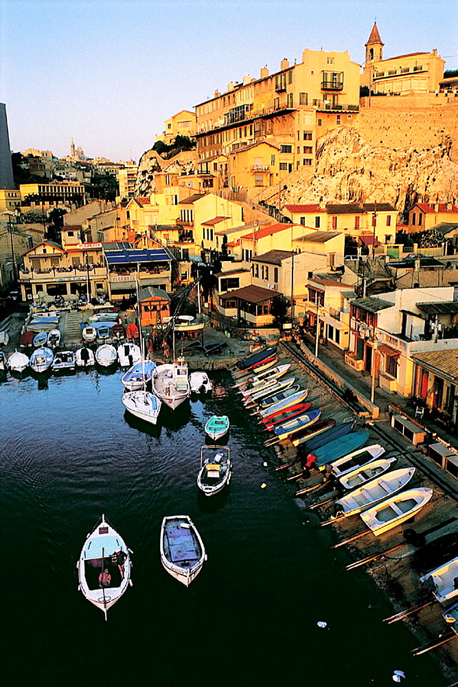 Vallon des Auffes at dusk, Marseille, France