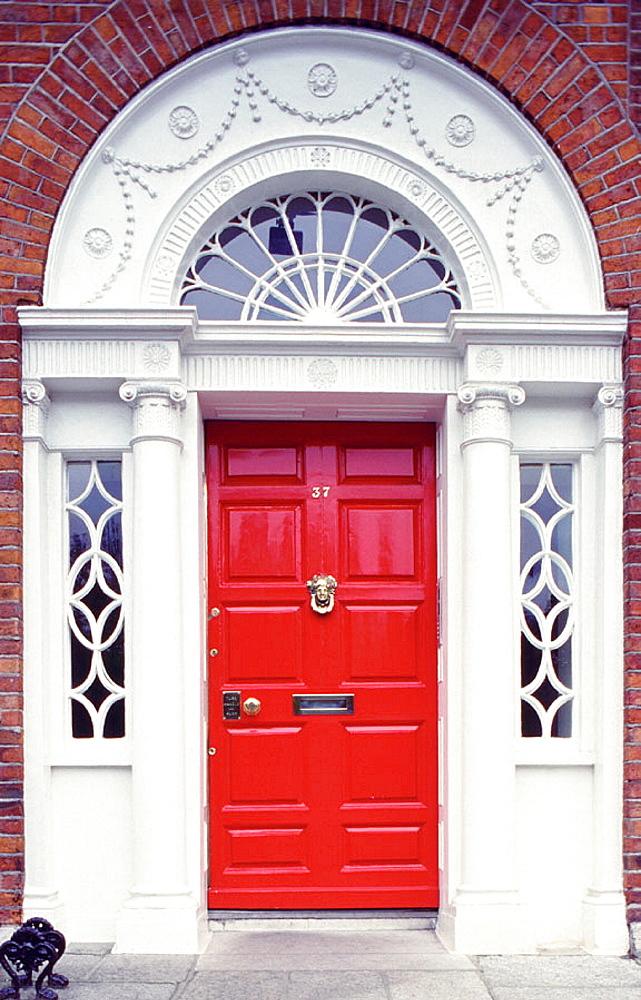 Georgian red door, Dublin, Ireland