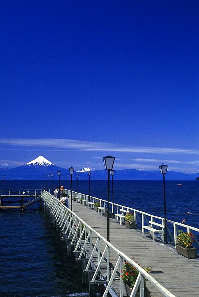 Scenic lake llanquihue, & osorno volcano, Frutillar, Chile.